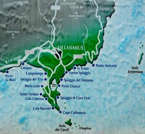 Capo Carbonara Map