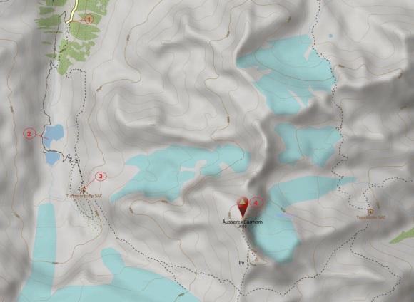 Barrhorn map - my climb
